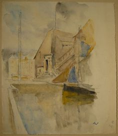 Original Watercolor by ANDRÉ NIVARD (Official painters of the French Navy) - View of Honfleur in Normandy - circa 1930s
