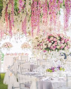 """""""White is the canvas, colours of the nature the splash of energy. It's always an honour to be a part of a big day. To all of our clients, thank you for…"""" #wedding #reception #wisteria"""
