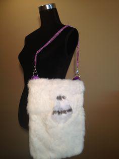 "Original design by Fifi Furs ""Dorota"" deep shoulder bag made with white rabbit fur, vibrant purple satin, purple tri-chain Purple Satin, Rabbit Fur, Furs, Bag Making, Vibrant, Deep, Shoulder Bag, Chain, Design"