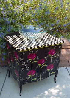 Peony Vanity: custom hand-painted art furniture