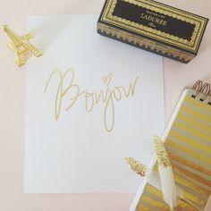 Bonjour, gold foil | ssprintshop.com | $35