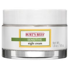 Wake up to softer skin with Burts Bees Sensitive Night Cream. Its clinically shown to moisturize sensitive skin overnight without causing redness or irritation. Formulated with cotton extract, rice extract and aloe known for their skin soothing and moisturizing properties. This night cream is fragrance free, hypoallergenic, allergy tested and dermatologist tested, so youll feel good about using it daily. Use it as part of the Burts Bees Sensitive skin care regimen. Give your skin the best…