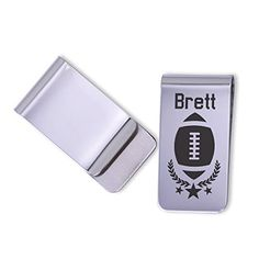 """Personalized Football money clip/Laser Marked. These personalized money clips make great gifts for that special guy in your life. Each one is permanently laser marked into the metal giving it that unique touch. They have a polished finish and each clip will come gift boxed ready for gift giving. CHECKING OUT: please provide 1. Name Money Clip Details: - Measures 1"""" x 2"""" - Stainless Steel/Polished - Laser Marked/Permanent."""