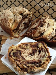 Chocolate Babka ~    Unseemly amounts of chocolate? Check. Cinnamon? Check. Streusel? Check. Tremendous amount of work? Check! Worth it? Double-check! No Jewish home doesn't have a recipe, but it takes a shiksa (Martha Stewart) to make a really great babka!    Recipe @:  http://smittenkitchen.com/blog/2007/09/mmm-bab-bee-bab-ka/