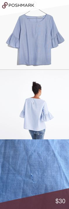 Madewell blue ruffle sleeve top Beautiful and mod ruffle sleeve blouse. Boxy fit but still flattering! Small thread pulling on front, not super noticeable. Madewell Tops