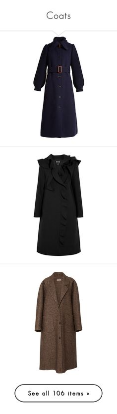 """Coats"" by ksmisk ❤ liked on Polyvore featuring outerwear, coats, blue trench coat, funnel-neck coats, wool blend trench coat, navy blue trench coat, long slip, black, ruffle coat and msgm coat"