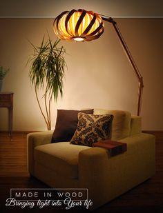 Beautiful handmade floor lamp, arch lamp, design lamp, veneer lamp, modern lamp, redwood, ash, plywood lamp, wood lamp, Twisted by MadeInWoodLv on Etsy https://www.etsy.com/listing/258489032/beautiful-handmade-floor-lamp-arch-lamp