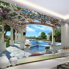 Европейский сад пространство расширить 3d Vision росписи обоев ТВ фон обои гостиной диван стены обои современныйкупить в магазине LD fashion wallpaper co., LTDнаAliExpress