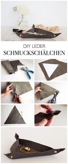 DIY LEDER SCHMUCK SCHALE - Dreieckige Schale aus Leder mit Buchschrauben und Lochschere selber machen - lindaloves.de