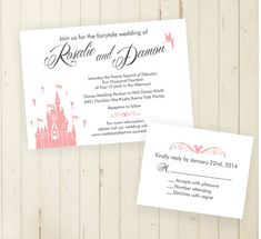 Fairytale Wedding Invitation Castle Party Magic Kingdom Invite Set Rsvp Card Fairy Tale Rehearsal Dinner