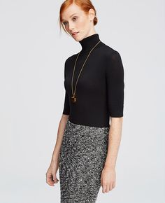 Primary Image of Petite Short Sleeve Turtleneck