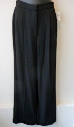 Donna Karan NWT Vintage Black Wool Waist Pleated Cuffed Pants Sz 6 Retail $595. #DonnaKaran #CasualDressyPants