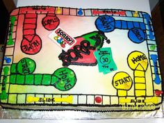 I decorated this cake to look like a Sorry game board. It is iced in buttercream icing. The game pieces and the playing cards are made of fondant. I painted them with the paste colors thinned with vodka. Please leave your comments and let me know what you think! Thanks for looking!
