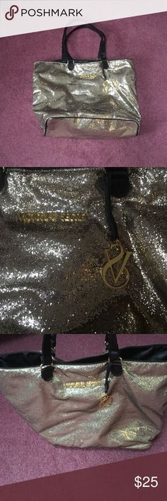 HUGE VS BAG beautiful gold glitter VS slumber bag with black silk inside. Used only a few times. Victoria's Secret Bags Shoulder Bags