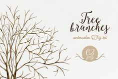 Tree branches. Watercolor DIY set by NataliVA on @creativemarket