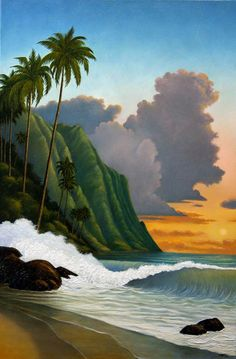 Napali Coast Pacific Sunset Breakers 24 x 36 oil on canvas 2011 by Norman Engel Hawaii Painting, Tropical Artwork, Hawaiian Art, Surf Art, Ocean Art, Beach Art, Tahiti, Beautiful Paintings, Illustrations