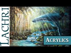 How to paint a waterfall in a moonlit forest! A basic speed painting tutorial of a waterfall - YouTube