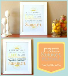 {FREE} Summer Printable using softer, summery colors. 16x20, can also be scaled down   Food Folks and Fun