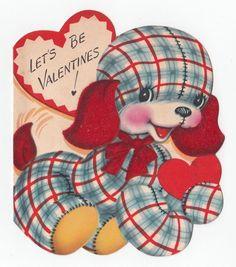 Vintage Greeting CardValentine Plaid Gingham Puppy Dog Die-Cut A-Meri-Card