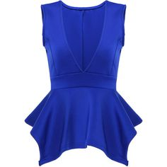 Yoins Deep V-neck Vest Top In Blue (24 AUD) ❤ liked on Polyvore featuring tops, shirts, blue, deep v neck shirt, blue vest, shirt vest, blue top and vest tops