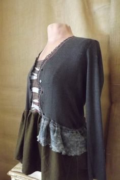 Upcycled Art to Wear Lagenlook Peasant Inspired Ruffle and Skirted Tunic Size M-L