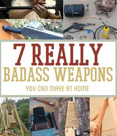 Survival Tools: 7 Really Badass Weapons. Awesome video tutorial on how to make homemade weapons from scrap. Survival Gear and Prepping Ideas Survival Weapons, Apocalypse Survival, Survival Life, Survival Food, Camping Survival, Outdoor Survival, Survival Prepping, Survival Skills, Emergency Preparedness