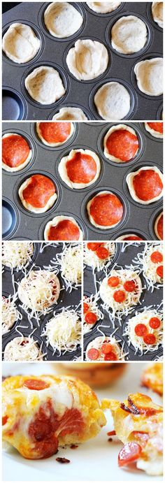 Deep Dish Pizza Bites our son loves this! Sunday nights during Walking dead we like to havea picnic style finger food night – we call it sushi Sunday ( Hubby andI get sushi 🙂 but our little one gets these or taco cups or sliders- Think Food, I Love Food, Good Food, Yummy Food, Appetizer Recipes, Snack Recipes, Cooking Recipes, Pizza Recipes, Recipes Dinner