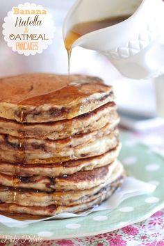 Banana Nutella and Oatmeal Pancakes @Jenny Flake, Picky Palate