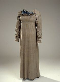 Rare Golden-Brown Day Dress. Danish, c. 1810-1820.