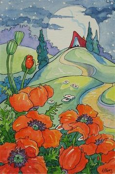 """Daily Paintworks - """"A Poppy Moon Storybook Cottage..."""" by Alida Akers / for Judith - Poppies."""