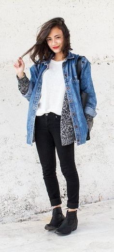 Go with a classic when topping off your warm Winter layers. | See more denim jackets on ShopStyle.com