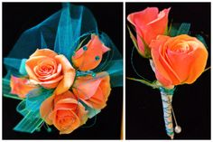 Dazzling teal tulle and rhinestones add the glitz to this peach pizzaz coral corsage and boutonnière duo.