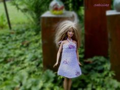 """Puppenkleidung - Minikleid mit """"Fischen"""" für Barbie ** violett/lila - ein…"""