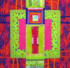 Five of six completed large quilt blocks, each a piece of art on its own.