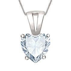 1.00 Ct Heart Shape Halo Diamond Sterling Silver Pendant W/ Chain Necklace #Silverdew #SolitairePendant
