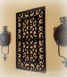 My Favorite Things: altered doormat to look like wrought iron wall hanging