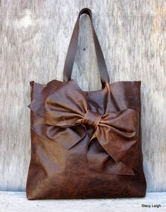 Bow Tote Bag in Distressed Brown Leather by Stacy Leigh Ready to Ship