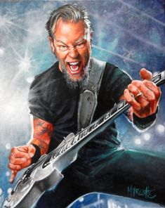 James Hetfield huile sur toile 24x30 Pastel Gras, James Hetfield, Fictional Characters, Oil On Canvas, Canvases, Fantasy Characters