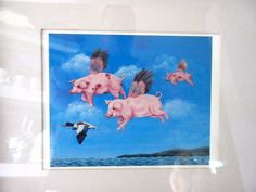 """When Pigs Fly Art Picture Framed Print 12"""" x 10"""""""