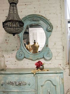 Painted Cottage Chic Shabby Aqua Mirror MR266 by paintedcottages