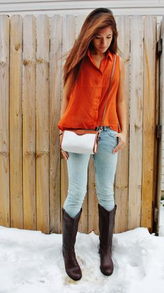 Burnt Orange. Riding Boots. Two-Tone Leather Purse