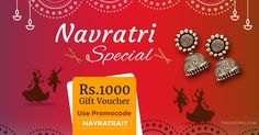 "This Navratri, celebrate the festivities of lights, joy & music with VirginJewel.com  AVAIL GIFT VOUCHER WORTH Rs.1000!!  Use the promo code ""NAVRATRA17"" on the purchase of unique jewelry selections (*minimum purchase amount Rs. 4000)  - Register on our website today and get additional 10% #discount on purchasing #exclusive #jewelry collections by #AnshuRajaJain."
