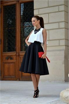 Black and white full skirts in summer 2017
