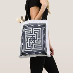Tote Bag MAZE OF HORSES dark navy on white Detail Shop, Holiday Photo Cards, Edge Design, Horse Riding, Dark Navy, Maze, Custom Clothes, Gifts For Dad, Horses