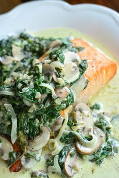 Salmon Florentine. Baked salmon and topped with creamy spinach and mushrooms. willcookforsmiles.com