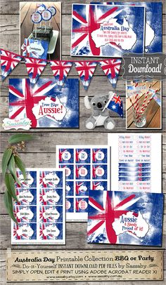 Australia Day Party Collection - INSTANT DOWNLOAD - Australian, Aussie Printable Party Invitation & Decorations by Sassaby by SassabyParties Printing Services, Online Printing, Australian Party, Australia Day Celebrations, Party Co, Party Games, Flag Template, Thank You Party, Circle Crafts