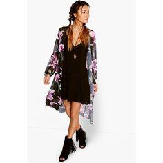 Boohoo Robyn Dark Floral Chiffon Maxi Kimono ($30) ❤ liked on Polyvore featuring intimates, robes, black, floral print robe, floral chiffon kimono, floral kimono, boho kimono and floral robe