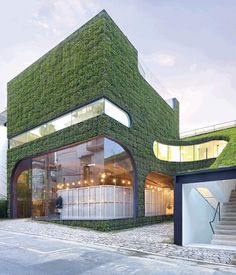 Ann Demeulemeester Shop, Mass Studies, Seoul, Korea, 2007  Architects Mass Studies took avant-garde Belgian fashion designer Ann Demeulemeester's Seoul boutique and gave it living, breathing walls. The lush façade adds a layer of insulation that reduces the energy needed for heating and cooling.