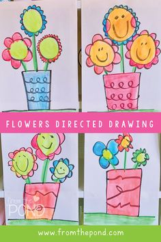 Flower Art Project Flower Art Project From the Pond fromthepond From the Pond Printables A cute directed drawing project for kindergarten and first nbsp hellip Kindergarten Drawing, Kindergarten Art Projects, In Kindergarten, Drawing Projects, Drawing Lessons, Art Lessons, Drawing Tutorials, Spring Drawing, Spring Art