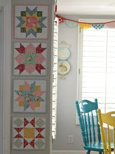 Backyard Roses Quilt Blocks - perfect way to brighten up a narrow space & just in time for Spring! #iloverileyblake #fabricismyfun
